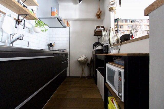 無垢フローリングにしたキッチン