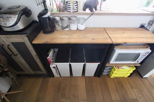 キッチンに集約したゴミ箱