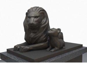 デザイン統一されたライオンズマンションのライオン像