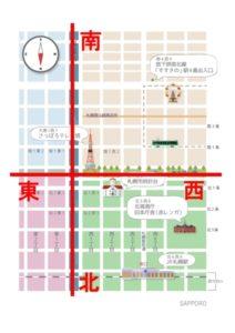札幌中心部碁盤の目の地図