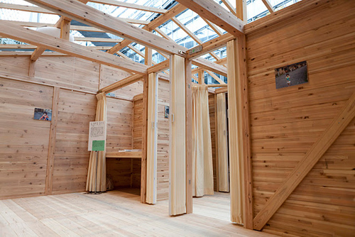 住田町が建てた木造の仮設住宅