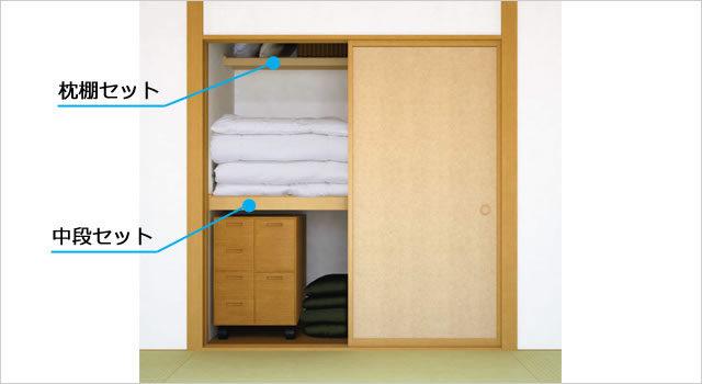押入れは枕棚と中段を使い分ける