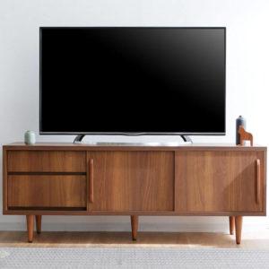 [幅150] 49V型対応 国産ミドルテレビ台(ウォルナット)