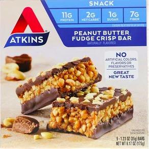 Atkins ピーナッツバターファッジクリスプバー