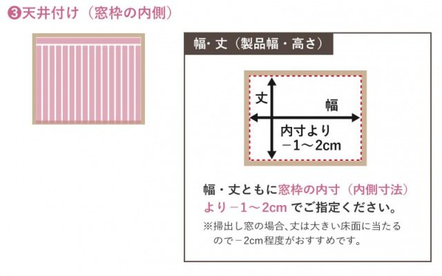 天井付け(窓枠の内側)の取付けイメージ
